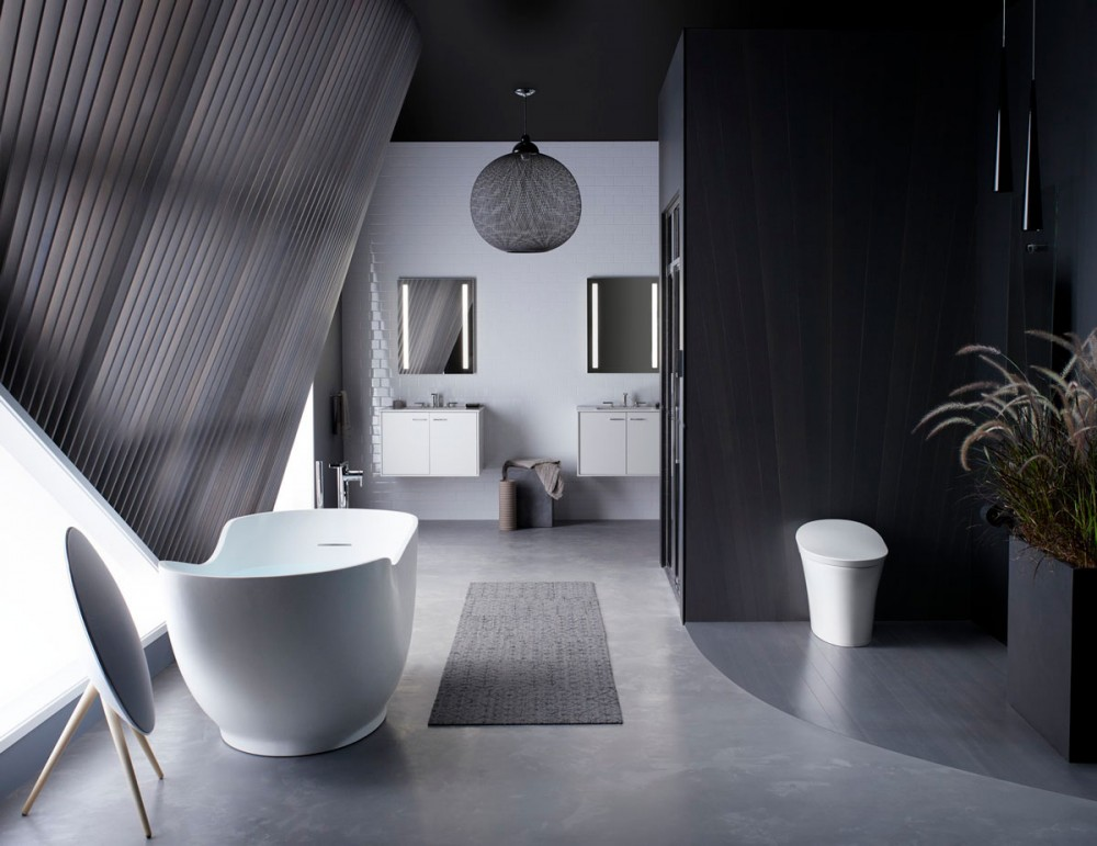 modern black and white bathroom with dramatic lighting