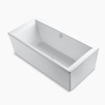 Long rectangular modern bathtub