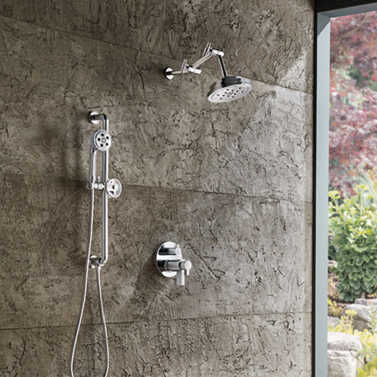 outdoor shower with stone wall