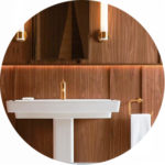 white sink with wood paneling thumbnail